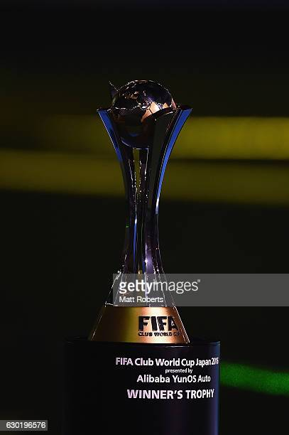 The winners trophy is seen during the FIFA Club World Cup final match between Real Madrid and Kashima Antlers at International Stadium Yokohama on...