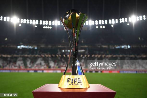 The winner's trophy is seen on a plinth at the side of the pitch prior to the FIFA Club World Cup Qatar 2020 Final between FC Bayern Muenchen and...