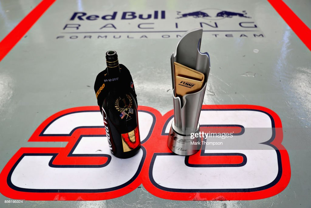 The winners trophy of Max Verstappen of Netherlands and Red Bull Racing in the garage after the Malaysia Formula One Grand Prix at Sepang Circuit on October 1, 2017 in Kuala Lumpur, Malaysia.