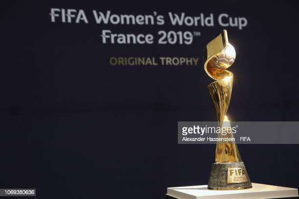 The winners trophy of the FIFA Women's World Cup 2019 France is displayed at La Seine Musicale on December 7 2018 in Paris France