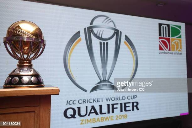 The winners trophy on display at The Opening Ceremony Dinner for the ICC Cricket World Cup Qualifiers at The Harare International Conference Centre...