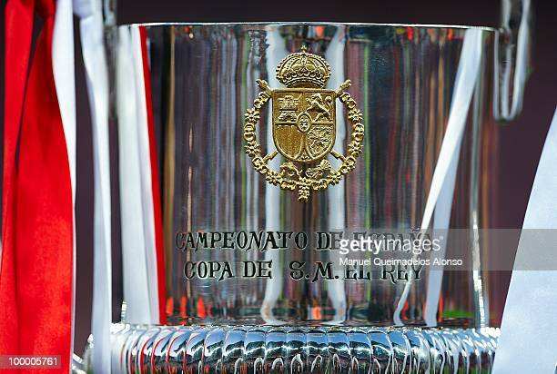 The winner's trophy reflects the presentation before the Copa del Rey final between Atletico de Madrid and Sevilla at Camp Nou stadium on May 19 2010...