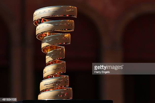 The winners trophy the 'Trofeo Senza Fine' is seen ahead of the ninth stage of the 2014 Giro d'Italia a 172km medium mountain stage between Lugo and...