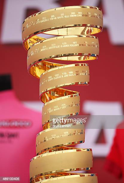 The winners trophy the 'Trofeo Senza Fine' is seen ahead of the second stage of the 2014 Giro d'Italia a 219km flat road stage on May 10 2014 in...