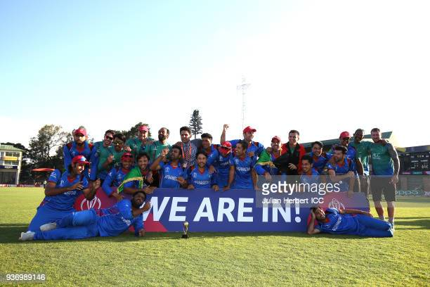 The winning Afghanistan team after The ICC Cricket World Cup Qualifier between Ireland and Afghanistan at The Harare Sports Club on March 23 2018 in...