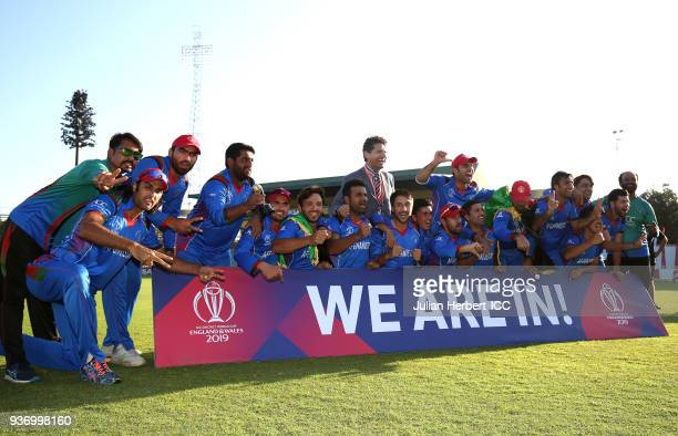The winning Afghanistan team are lead in celebrations by Mohammed Shahzad after The ICC Cricket World Cup Qualifier between Ireland and Afghanistan...