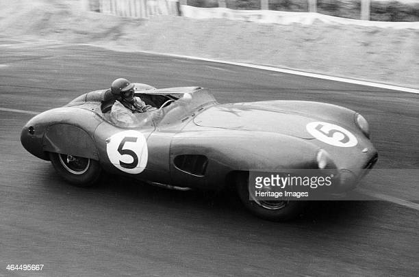 The winning Aston Martin DBR1 in the Le Mans 24 Hours, France, 1959. Carroll Shelby, pictured at the wheel here, and Roy Salvadori were the...