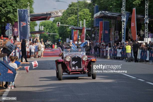 The winning car drives to the finish line during the last day of the 1000 Miles Historic Road Race during Mille Miglia 2018 on May 19 2018 in Brescia...