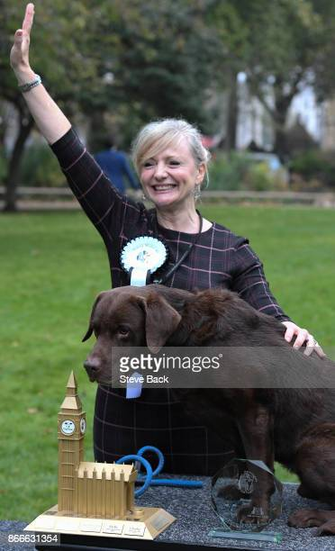 The winning dog Labrador Rocky with her owner Tracy Brabin Actress and MP for Batley and Spen during the Westminster Dog of the Year 2017 competition...
