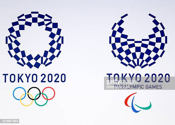 The winning emblem designs for Tokyo 2020 and Tokyo 2020 Paralympic Games is unveiled on April 25 2016 in Tokyo Japan Tokyo 2020 Organising Committee...