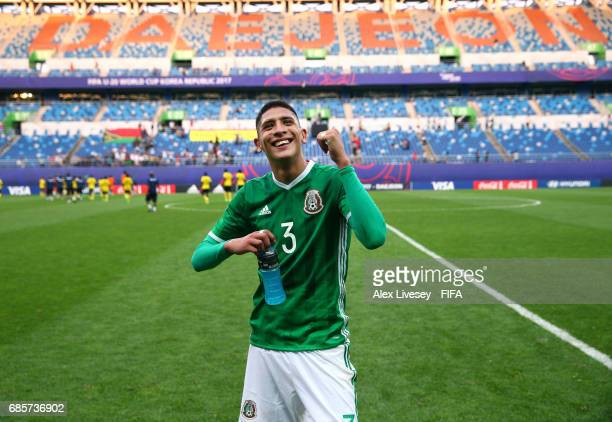 The winning goalscorer Edson Alvarez of Mexico celebrates after the FIFA U20 World Cup Korea Republic 2017 group B match between of Vanuatu and...