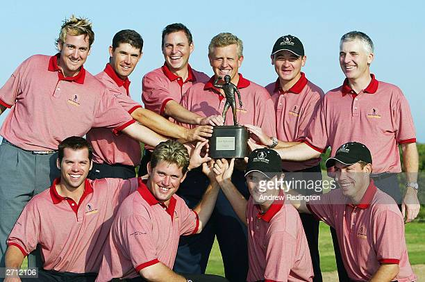 The winning Great Britain and Ireland team Ian Poulter Padraig Harrington David Howell Colin Montgomerie Paul Lawrie Phillip Price and Paul Casey Lee...