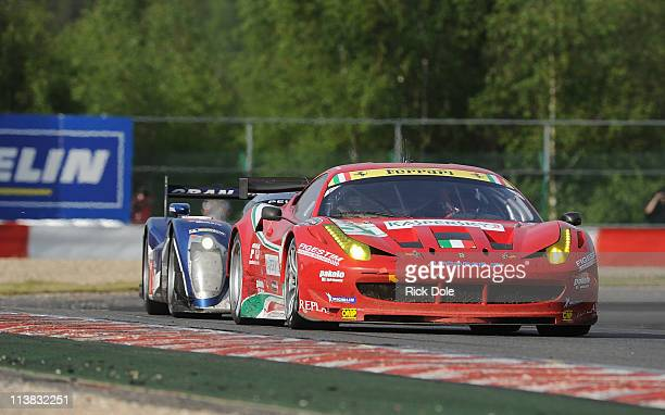 The winning GT class AF Corse Ferrari 458 Italia driven by Italians Giancarlo Fisichella and Gianmaria Bruni during the Intercontinental Le Mans Cup...
