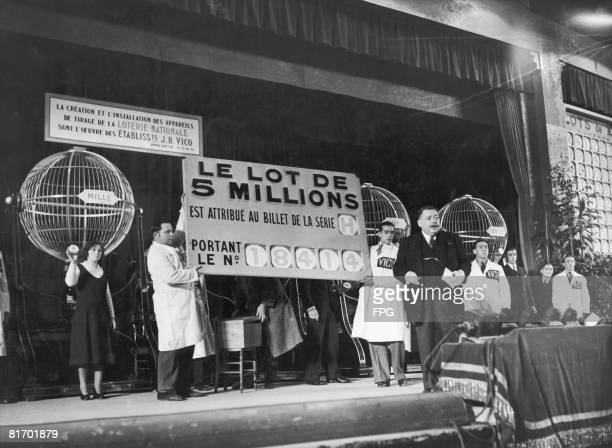 The winning number in the French National Lottery is announced in Paris 15th November 1933 The winner of the five million francs was Paul Bonhourse a...