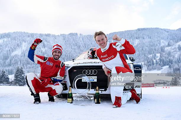 The winning team Andrea Dovizioso and Henrik Kristoffersen pose with the trophy after the final day of the Audi Quattro #SuperQ on January 20 2016 in...