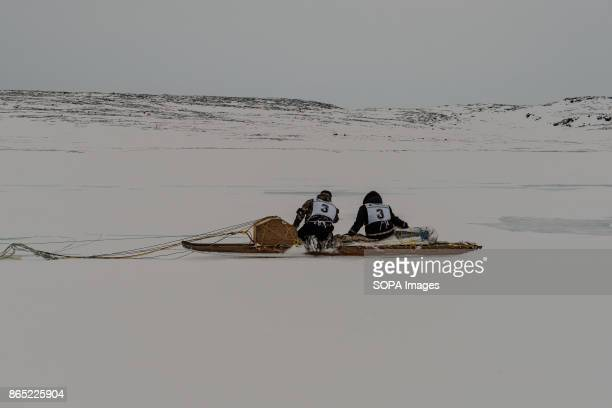 BAY INUKJUAK NUNAVIK QUEBEC CANADA The winning team at their arrival in Inukjuak on the Hudson Bay Since 2001 Ivakkak has been an event which honors...