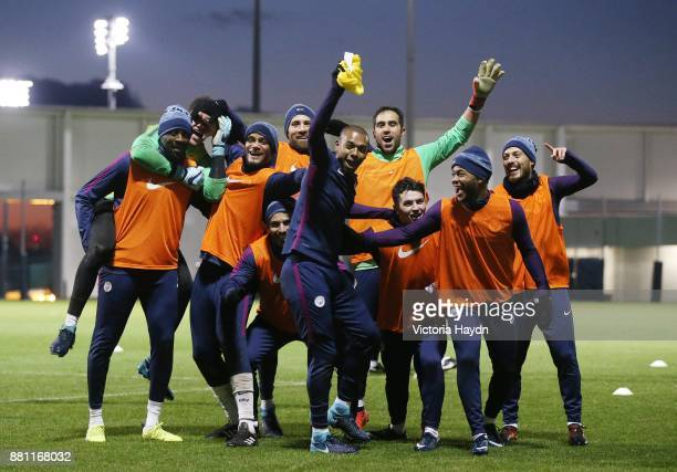 The winning team of Fernandinho Ederson Moraes Yaya Toure Vincent Kompany Nicolas Otamendi Sergio Aguero Claudio Bravo Brahim Diaz Raheem Sterling...