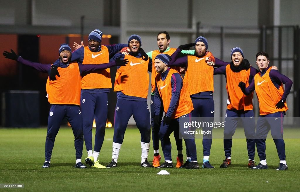 The winning team of Fernandinho, , Yaya Toure, Vincent Kompany, Nicolas Otamendi, Sergio Aguero, Claudio Bravo, Brahim Diaz, Raheem Sterling and David Silva at Manchester City Football Academy on November 28, 2017 in Manchester, England.