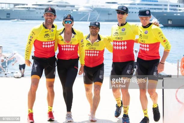 The winning team of the Riviera Water Bike Challenge 2018 Mark Webber Princess Charlene of Monaco Christophe Dominici David Tanner and Terence Parkin...