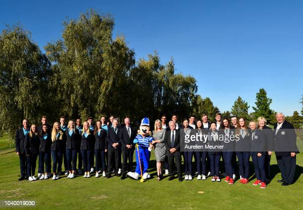 The winning USA team pose with Mickey Mouse after victory on day two of the 2018 Junior Ryder Cup at Disneyland Paris on September 25 2018 in Paris...