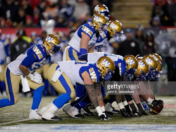 The Winnipeg Blue Bombers offensive line sets up against the Hamilton Tiger-Cats at McMahon Stadium on November 24, 2019 in Calgary, Canada. Winnipeg...