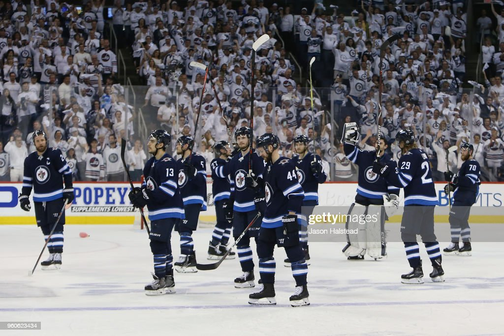 The Winnipeg Jets acknowledge fans after being defeated by the Vegas Golden Knights 2-1 in Game Five of the Western Conference Finals during the 2018 NHL Stanley Cup Playoffs at Bell MTS Place on May 20, 2018 in Winnipeg, Canada.