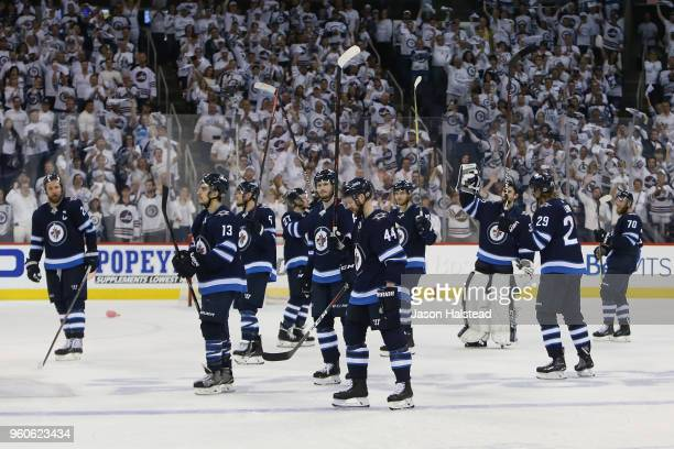 The Winnipeg Jets acknowledge fans after being defeated by the Vegas Golden Knights 21 in Game Five of the Western Conference Finals during the 2018...