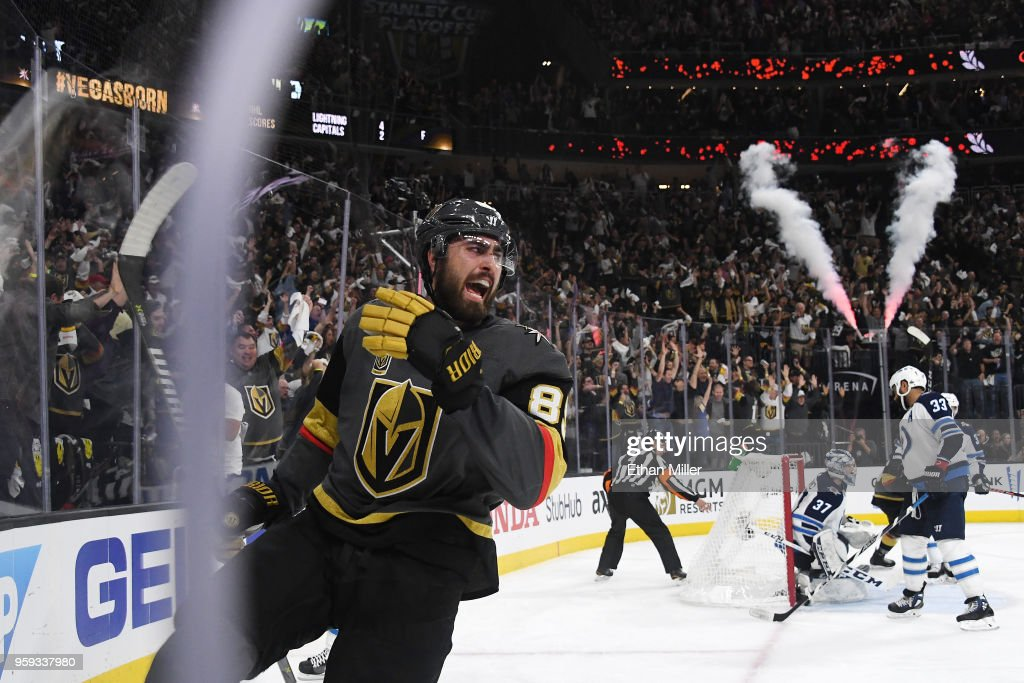 The Winnipeg Jets react as Alex Tuch #89 of the Vegas Golden Knights celebrates his second-period goal in Game Three of the Western Conference Finals during the 2018 NHL Stanley Cup Playoffs at T-Mobile Arena on May 16, 2018 in Las Vegas, Nevada.
