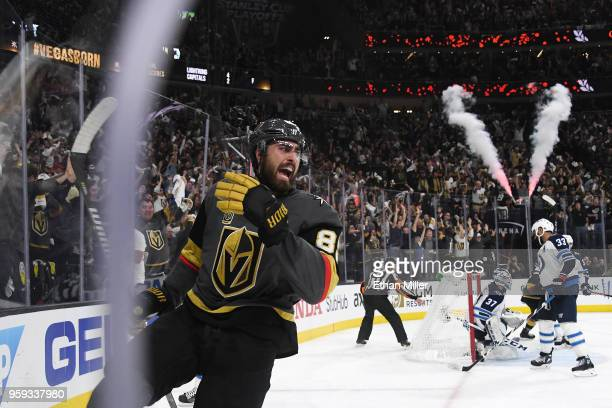 The Winnipeg Jets react as Alex Tuch of the Vegas Golden Knights celebrates his secondperiod goal in Game Three of the Western Conference Finals...