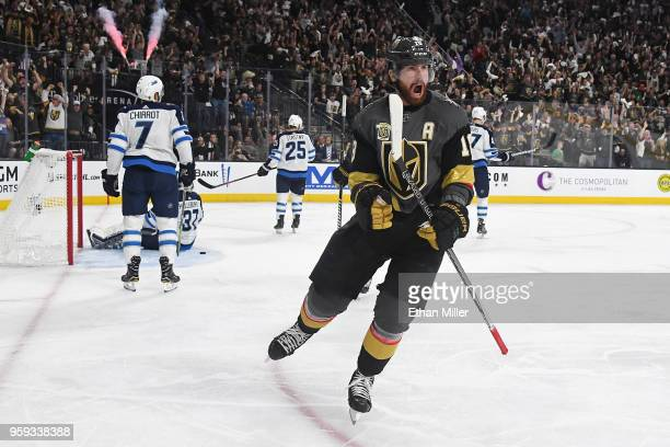 The Winnipeg Jets react as James Neal of the Vegas Golden Knights celebrates his secondperiod goal in Game Three of the Western Conference Finals...