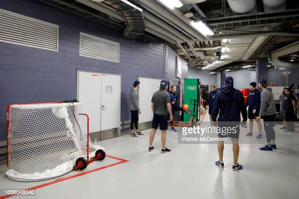 The Winnipeg Jets warm up with a soccer ball before a game against the Florida Panthers during the 2018 NHL Global Series at Hartwall Arena on...
