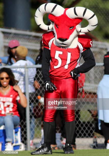 The WinstonSalem State University Ram mascot in action during a match between Bowie State University and WinstonSalem State University on September...