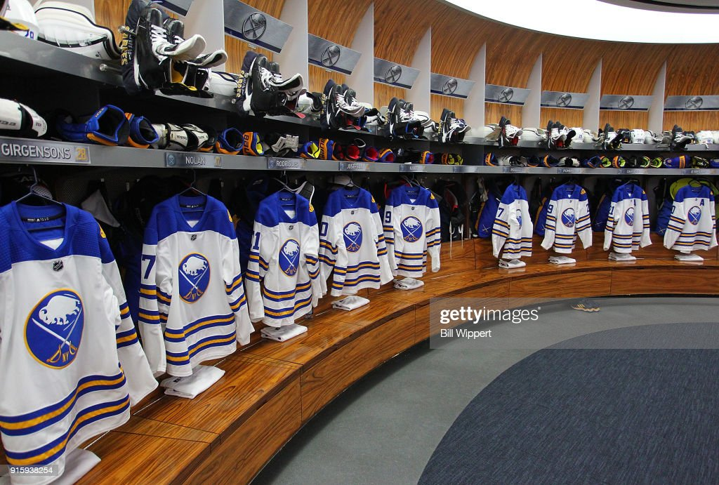 The Winter Classic jerseys of the Buffalo Sabres hang in the dressing room prior to the NHL game against the New York Islanders on February 8, 2018 at KeyBank Center in Buffalo, New York.