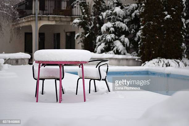 the winter dining table - deep snow stock pictures, royalty-free photos & images