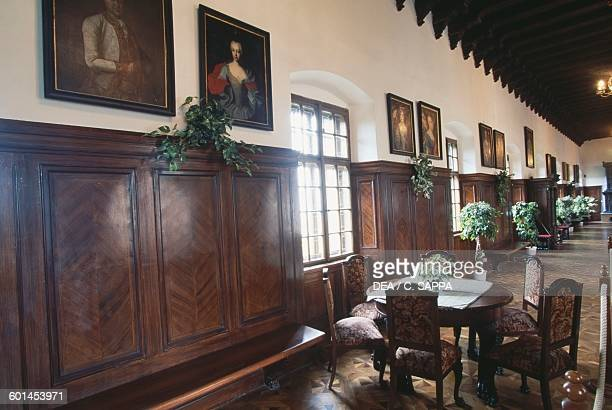 The winter garden with wood panelling and paintings Bojnice castle Slovakia 12th19th century