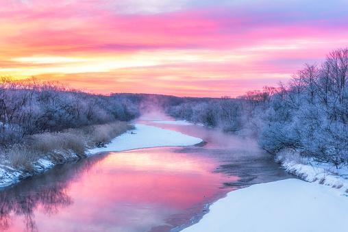 The Winter Landscape in Kushiro, Hokkaido, Japan - gettyimageskorea