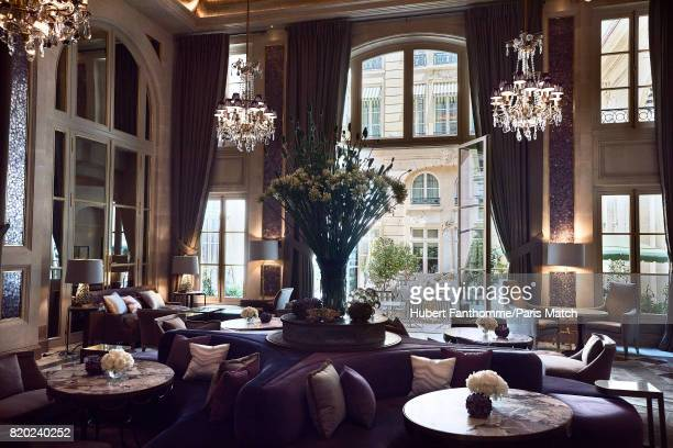 The winter lounge decorated by Chahan Manissian withf lowers by Djorje Varda inside the Crillon Hotel photographed for Paris Match on June 22 2017 in...