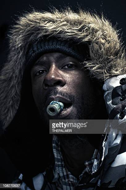 the winter pimp - rap stock pictures, royalty-free photos & images