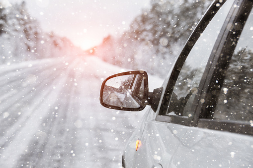 The winter road with car 1062870860