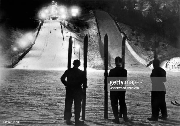 The winter stadium at Garmisch Germany site of the 1936 Winter Olympics is illuminated at night for a skijump meet Germisch Germany February 2 1937