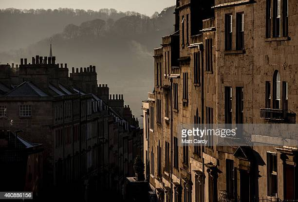 The winter sun begins to rise over the rooftops of Bath on December 29 2014 in Bath and North East Somerset England According to the Met Office...