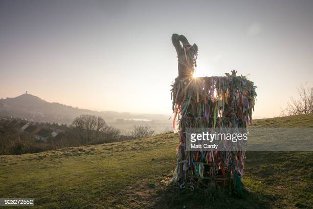 The winter sun rises behind the Holy Tree on Wearyall Hill near Glastonbury on February 23 2018 in Somerset England Weather forecasters are warning...
