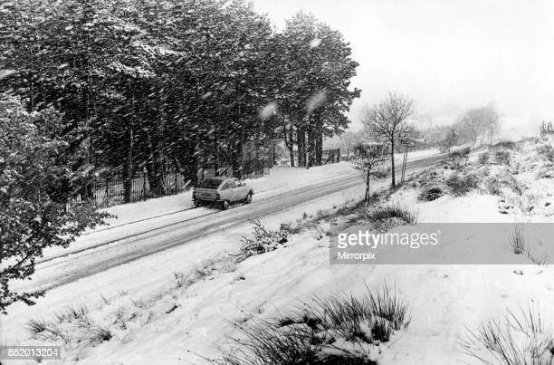 The wintery white outlook on the Rhigos Mountain road high above Treherbert 27th April 1981