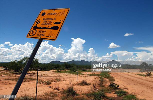 SELLS AZ AUGUST 29 2003 The wire fence was set up for 75 miles along border of Tohono Indian Nation between Sells AZ and Mexico One of the busiest...