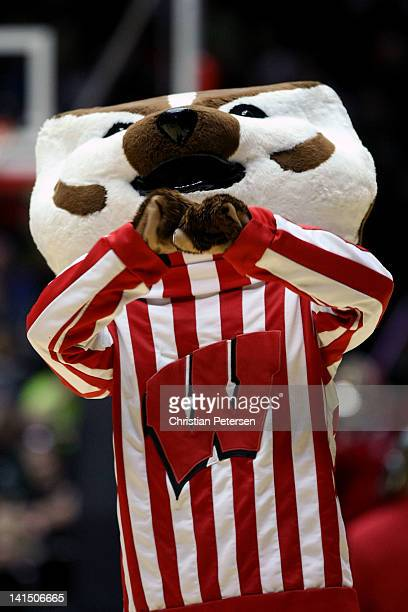 The Wisconsin Badgers mascot 'Bucky Badger' cheers in the second half of the game against the Vanderbilt Commodores during the third round of the...