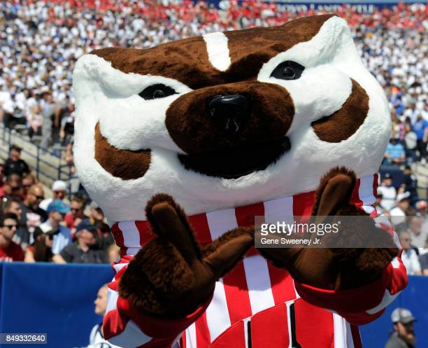 The Wisconsin Badgers mascot Bucky Badger performs during the game between the Badgers and the BYU Cougars at LaVell Edwards Stadium on September 16...