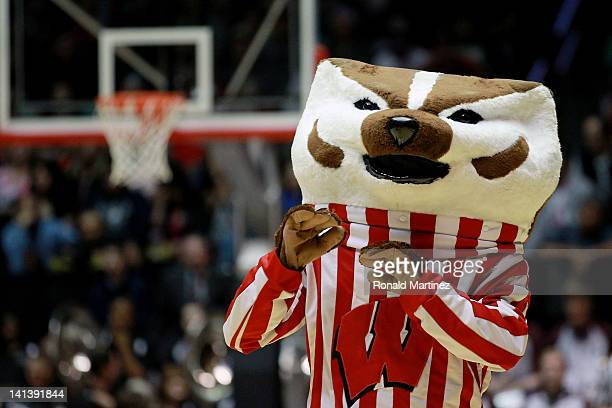 The Wisconsin Badgers mascot 'Bucky Badger' performs during the second half of the game against the Montana Grizzlies during the second round of the...