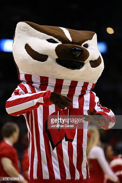 The Wisconsin Badgers mascot Bucky Badger performs during the second round game of NCAA Basketball Tournament against the American University Eagles...