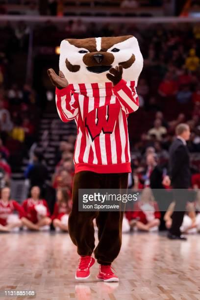 The Wisconsin Badgers mascot is seen during a Big Ten Tournament quarterfinal game between the Nebraska Cornhuskers and the Wisconsin Badgers on...