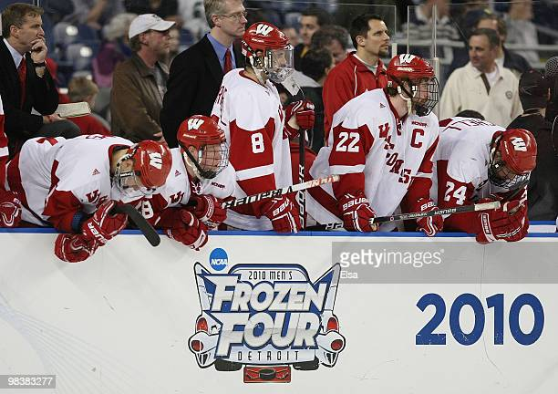 The Wisconsin Badgers reacts after losing the championship game of the 2010 NCAA Frozen Four to the Boston College Eagles on April 10, 2010 at Ford...